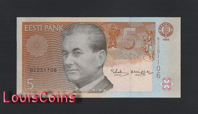 【Louis Coins】B1488-ESTONIA-1994愛沙尼亞紙幣,5 Krooni