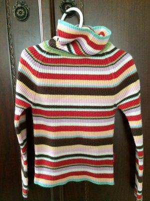 二手高領彩條柔軟毛衣
