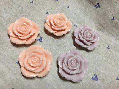 粉紅 淺紫色 玫瑰花 造型DIY素材 奶油殼 貼鑽 袖珍小物 飾品材料 (現貨)