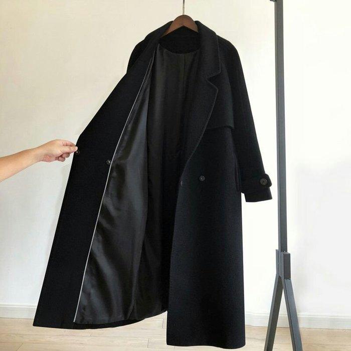 【實拍🔥🔥】韓 羊毛黑色毛呢繫帶大衣 中長款 過膝外套女裝 赫本風 大衣 嚴選保暖大衣【XS-2XL】