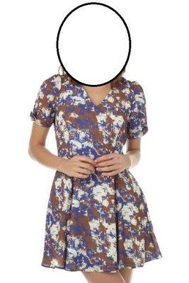 Debbies World 『日系第一潮牌SLY-海軍藍白花紋V領洋裝(M)=(2)號』