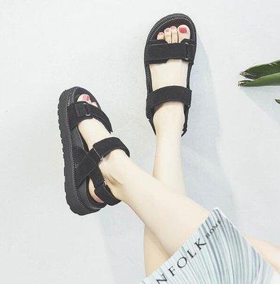 韓國夏季涼鞋 真皮厚底松糕露趾羅馬涼鞋 34-40碼—莎芭