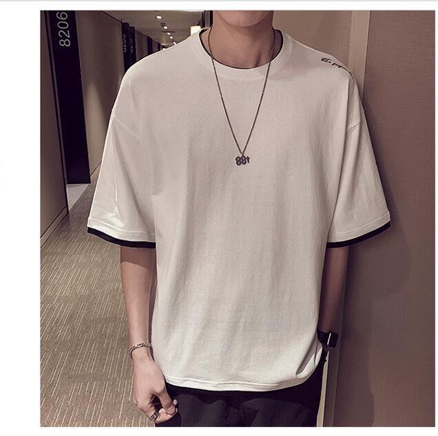 韓系新款休閑純棉短袖t恤潮流男裝半袖打底假兩件上衣  C229