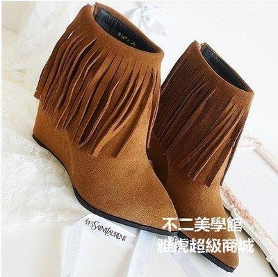 【格倫雅】歐美短靴春秋尖頭裸靴磨砂流蘇靴坡跟高跟真皮女靴5665[g-l-y23
