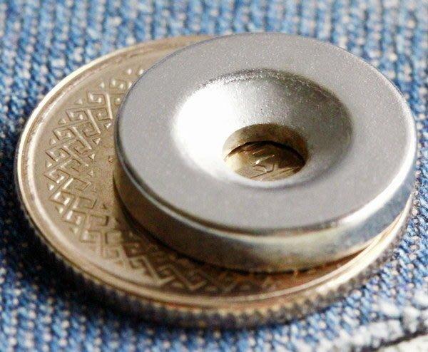 釹鐵硼強力磁鐵-15mmx3mm(單孔4mm)帶孔磁鐵@萬磁王@