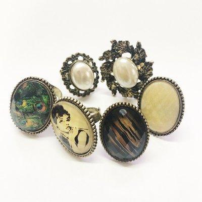戒指 指環 womens vintage ring band 6件$100元 5色 歐美 古典 復古 橢圓 鏤空 花 可調較 造型 韓 女 現貨 包郵 A113