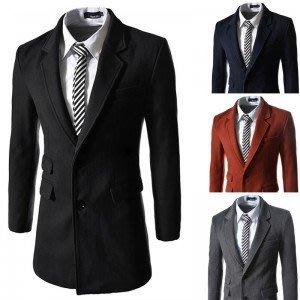 yes99buy加盟-2014秋冬새로운 韓味個性雙口袋設計單排扣中長款男式毛呢大衣 外套