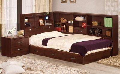 【DH】貨號VC214-5A《艾笛生》3.5尺胡桃書架單人抽屜床架組˙含收納櫃+床頭櫃˙主要地區免運