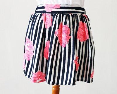 深藍色直條螢光粉紅玫瑰花短裙-C箱C6(非iroo-MOMA-六藝-agnes b)【390含郵】