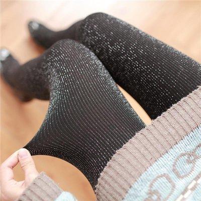 顯瘦細豎條紋連褲襪春秋加厚銀蔥絲珠光絲襪日系黑色踩腳打底襪子