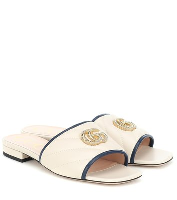 HJ國際精品館20秋冬GUCCI 629730 Double G quilted leather sandals