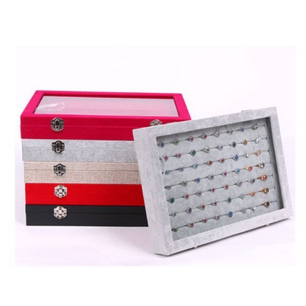 5Cgo 【鴿樓】會員有優惠 19966335286 高檔實木帶翻蓋戒指盒 絨耳釘盒 大號首飾盒 飾品展示盒盤子