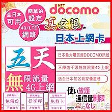 *日本好好玩 超商免運費*真-無限 5天 不降速&無限速 吃到飽 日本上網卡 送行李秤 DOCOMO 日本 網卡