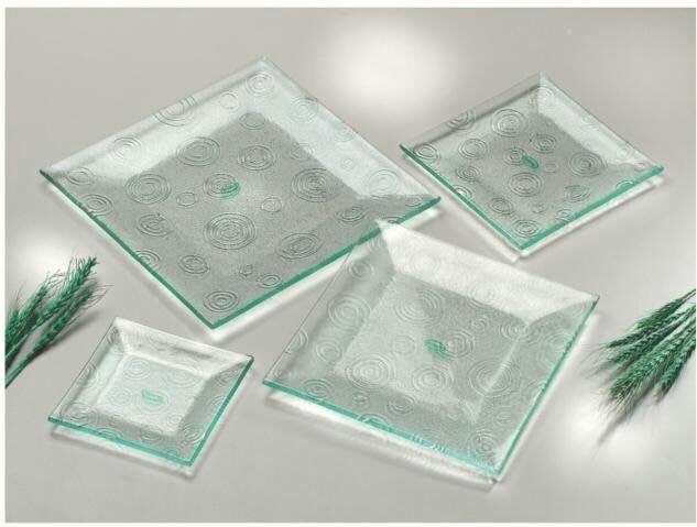 正方形雕花玻璃盤/冷盤餐盤