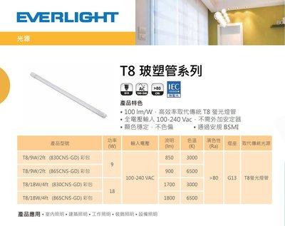 《安心Go》EVERLIGHT 億光 LED T8 燈管 LED 全電壓 日光燈管 2尺 9W 黃光