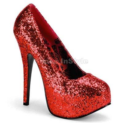 Shoes InStyle《五吋》美國品牌 PINK LABEL 原廠正品金蔥厚底高跟包鞋有大尺碼 11-16碼『紅色』