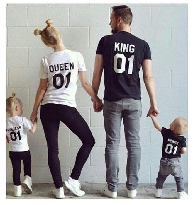 【小阿霏】寶貝款 親子裝家庭裝T-shirt 國王皇后公主王子純色短袖T恤 父子裝母子裝情侶裝上衣FA14