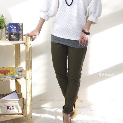 韓國連線 休閒風直筒褲 撞色伸縮鬆緊腰頭 抽繩款~桔子瑪琪朵