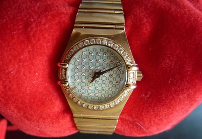 【幾近全新】Omega 歐米茄Constellation星座系列 女用玫瑰金鑽錶1156.77.00