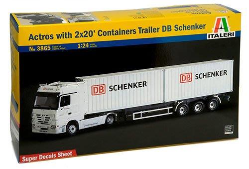 ITALERI 1/24 Actros with 2x20 Cont. Trailer Schenker  (3865)