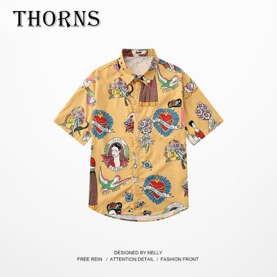 【THORNS】夏季港風復古ulzzang寬松薄款沙灘花襯衫男chic青少年短袖上衣潮