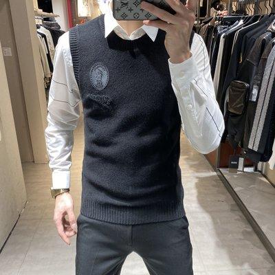 歐韓貨歐洲站2021秋冬新款男士羊毛針織衫背心時尚簡約百搭潮流毛衣馬甲
