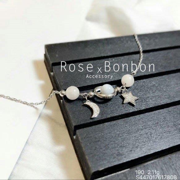 正生銀飾  S925純銀手鍊 星月雙環雙珠 水晶 婚姻感情 轉運開運 銀色 鑲鑽手飾 手鐲 手環Rose Bonbon