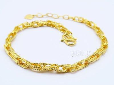 如玉坊珠寶   進口電刻手鍊   黃金手鍊   AP&