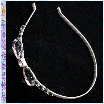 ☆POLLY媽☆歐美進口水鑽蝴蝶結造型乳白色緞帶纏繞金屬底窄版髮箍
