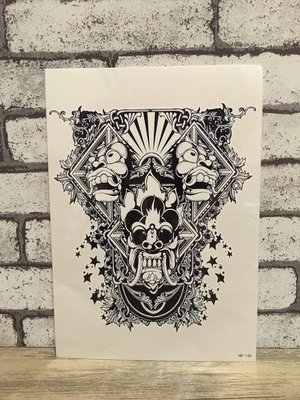 【萌古屋】三頭鬼面花臂手臂大圖 - 男女防水紋身貼紙刺青貼紙HB-148