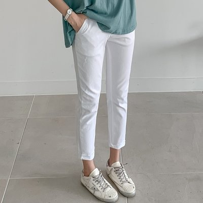 Bellee  正韓 夏天好搭配 薄款褲管反折小直筒彈性棉質長褲  S-3XL   (3色)【1906351】 預購