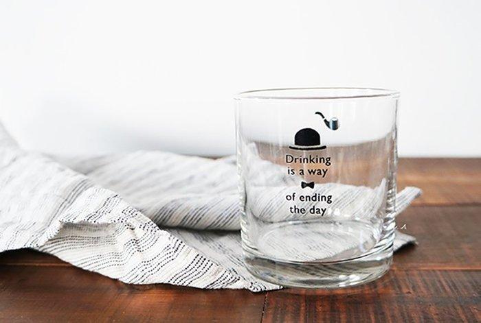 京都 souvenir 日本製 腳踏車 太陽 高角帽 煙斗 圖案 水杯 杯子 玻璃杯 酒杯