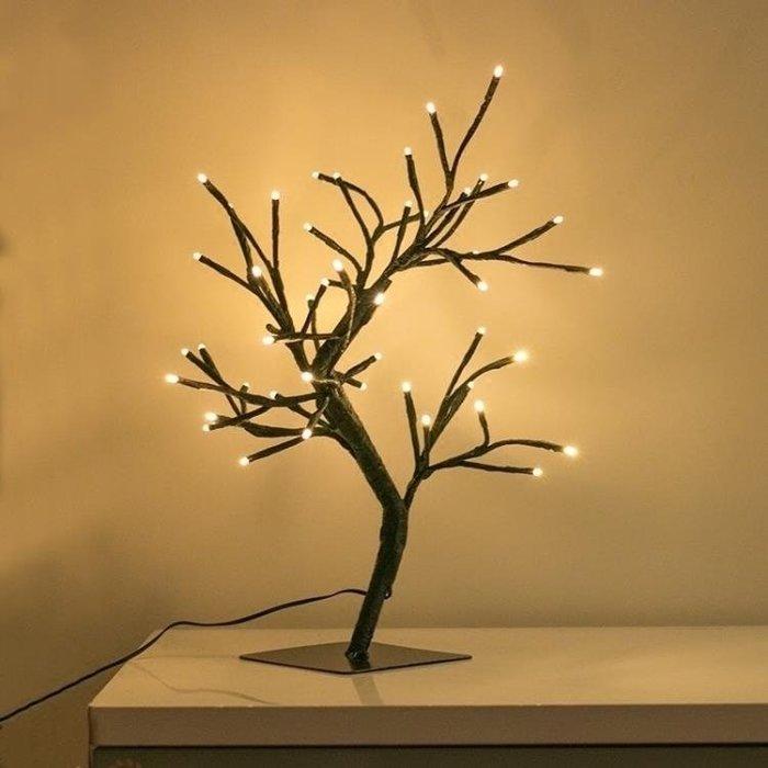 LED仿真發光小圣誕樹臺燈生日創意禮物房間床頭造型燈小夜燈ATF錢夫人小鋪