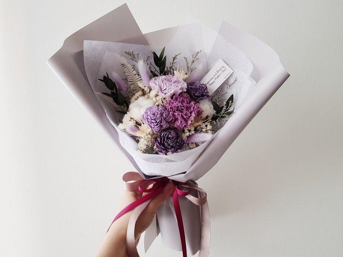 永生花+乾燥花|珍愛媽咪|紫色康乃馨母親節花束|全省宅配|近台北歡迎自取西門1號出口【Flower&House花藝之家】