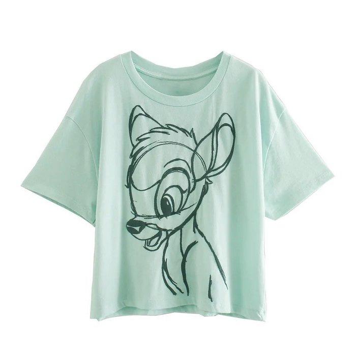【17LOVE】減齡必買!童話故事小鹿斑比小飛象小精靈迪士尼手繪 短袖中長版 休閒上衣 T 居家服 白灰綠紫 情侶姊妹裝