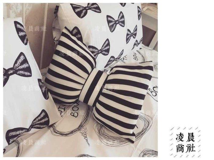 凌晨商社 // 黑白條紋 蝴蝶結 枕頭 靠枕 靠墊 肩頸枕 飛機枕 francfranc大小兩款 大$599 小$390