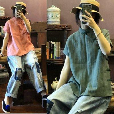 【子芸芳】原創中式改良側開襟純亞麻色織短袖小衫襯衫