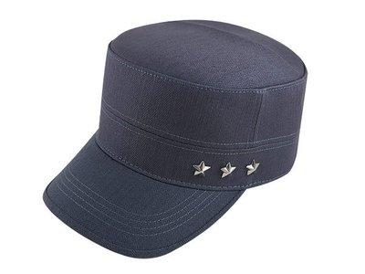 【二鹿帽飾】男帽女帽 -新潮流時尚新風格 /深灰色 /3顆星. 硬挺 軍帽-MIT