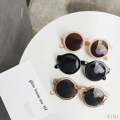 VINI 韓國ACC街拍搭配小物 百搭超可愛萌圈圈復古圓形墨鏡遮陽太陽眼鏡