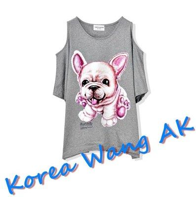 Korea Wang AK ~(預購)台灣原創獨家設計 美國100%純棉 限定版 法國鬥牛犬挖肩T  三款【P049】