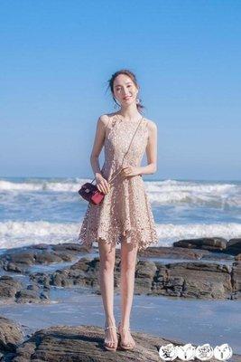 小禮服 夏季女裝修身顯瘦無袖露肩性感吊帶小禮服蕾絲連身裙裙子