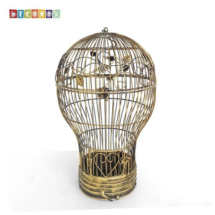 DecoBox燈泡青銅中花架(鳥籠,燈泡花架,園藝,花台,花插,鍛鐵展示架)
