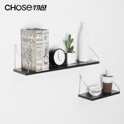 ZIHOPE 訂製 墻上置物架免打孔臥室裝飾墻壁掛現代簡約一字隔板鐵藝書架儲物架ZI812