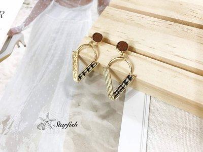 【海星 Starfish】|925銀針|時尚風格V line獨特異材質拼接造型耳環