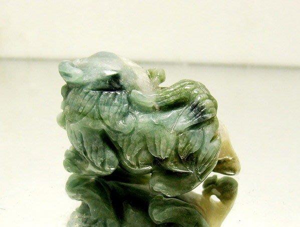 小風鈴~天然高檔37mm西瓜藍碧璽精雕祥獅獻瑞墜(電氣石)~重量:19.5g