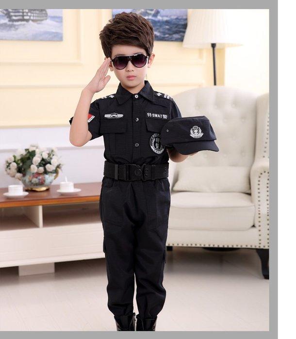 高雄艾蜜莉戲劇服裝表演服*兒童特警制服/小警察演出服裝*購買價$800元