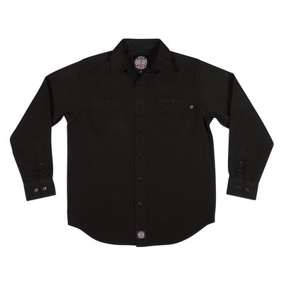 《 Nightmare 》Independent Block L/S Button Up Top - Black