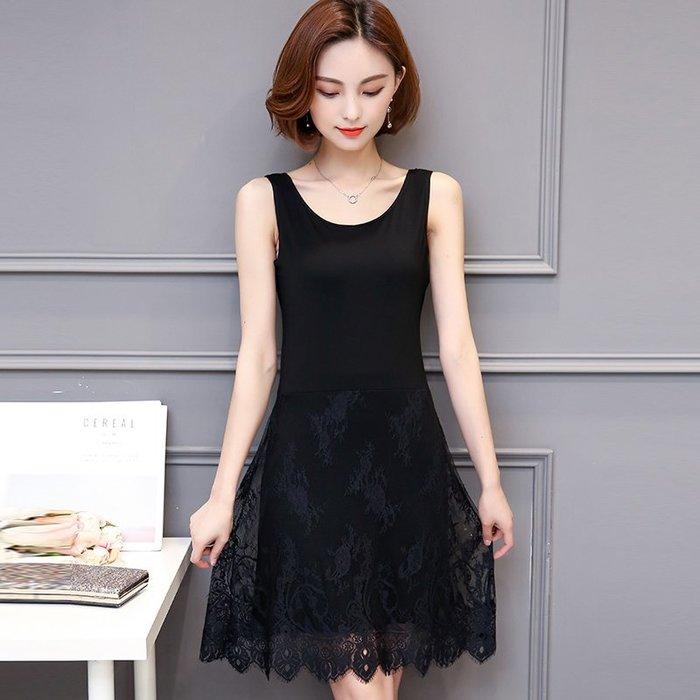 [C.M.平價精品館]2XL現貨/典雅美麗蕾絲網紗裙襬百搭棉質黑色無袖洋裝