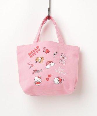 日本sanrio HELLO KITTY×foxy illustrations 粉色手提包