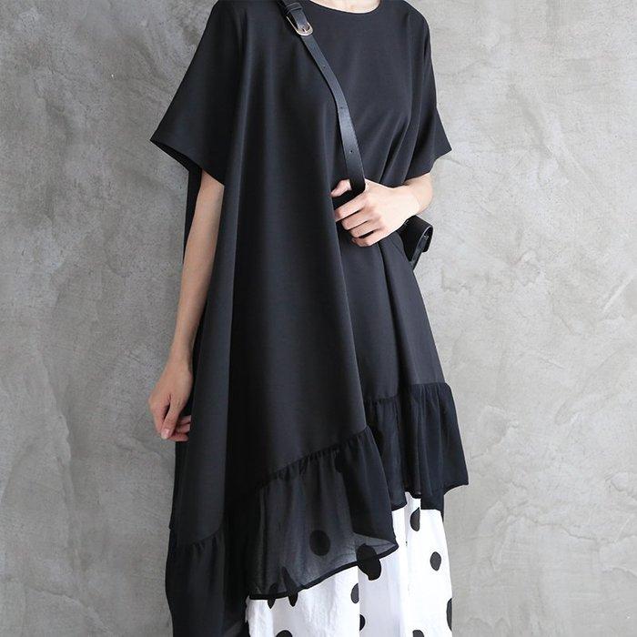 CHIC U  暗黑先鋒不規則T恤裙連身裙夏超仙甜美顯瘦氣質雪紡中長款短袖荷葉上衣